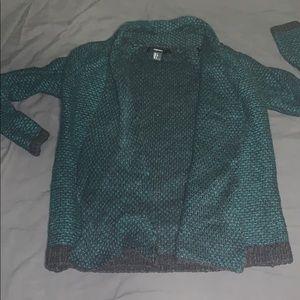 Teal & black knit cardigan sweater